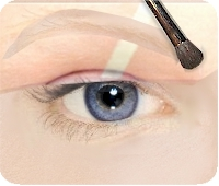 blonde eyebrow with puff brush