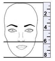 e3fd5c9c6e Step 1  Measure the length of your face with a ruler. (In this case the  total length of the face is 8). Step 2  Divide the total length by 3.
